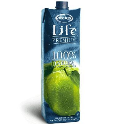 Nectar jabuka LIFE 1L 100% SOK BRIK